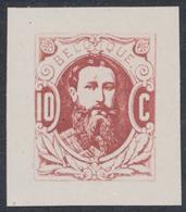 Essai : Effigie De Face Léopold II , 10ctm Rose / Vermillon Sur Papier Blanc Couché / STES 1567 - Essais & Réimpressions