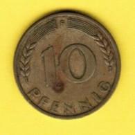 """GERMANY  10 PFENNIG 1950 """"F"""" (KM # 108) #5338 - [ 7] 1949-…: BRD"""