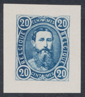 Essai : Effigie De Face Léopold II , 20ctm Bleu Outremer Sur Papier Blanc Couché - Proofs & Reprints