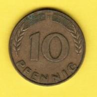 """GERMANY  10 PFENNIG 1950 """"F"""" (KM # 108) #5339 - [ 7] 1949-…: BRD"""