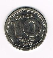 //  JOEGOSLAVIE  10  DINARA  1993 - Yougoslavie