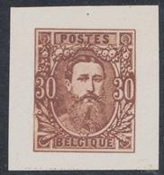 Essai : Effigie De Face Léopold II , 30ctm Brun Sur Papier Blanc Couché (Réimpression Privé) / STES 1571 - Proofs & Reprints