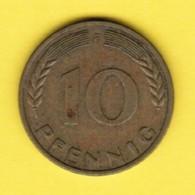"""GERMANY  10 PFENNIG 1950 """"F"""" (KM # 108) #5340 - [ 7] 1949-…: BRD"""