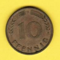 """GERMANY  10 PFENNIG 1950 """"J"""" (KM # 108) #5341 - 10 Pfennig"""