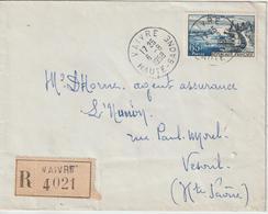 Lettre Recommandée 1958 De Vaivre Hte Saone Pour Vesoul - Storia Postale