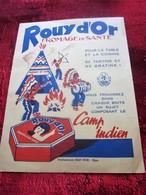"""1950 PROTÈGE CAHIER""""PUBLICITÉ ALIMENTAIRE ROUY D'OR""""FROMAGE DE SANTÉ DANS CHAQUE BOITE 1 SUJET COMPOSANT LE CAMP INDIEN - Protège-cahiers"""