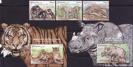 Malaysia 2019-8 Wildlife Conservation Set+M/S MNH Fauna Pangolin Elephant Bear Tiger Rhinoceros Unusual - Malaysia (1964-...)