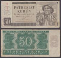 Czechoslovakia 50 Korun 1950 (F-VF) Condition Banknote P-71a WITHOUT PERFORATION - Czechoslovakia