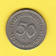"""GERMANY  50 PFENNIG 1950 """"F"""" (KM # 109.1) #5347 - [ 7] 1949-… : FRG - Fed. Rep. Germany"""