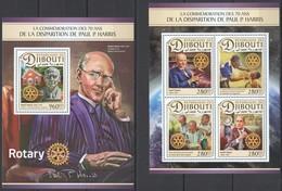 QQ626 2017 DJIBOUTI 70TH COMMEMORATION PAUL P. HARRIS ROTARY INT. KB+BL MNH - Rotary, Lions Club