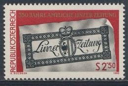 """Austria Österreich 1980 Mi 1657 YT 1488 SG 1885 ** 350th Ann. """"Linzer Zeitung"""" / Titelblatt Der Linzer Zeitung Von 1816 - 1971-80 Ongebruikt"""