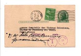 USA CARTE DE LOS ANGELES POUR LA FRANCE 1946 TAXEE AU DEPART - Etats-Unis