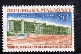 MADAGASCAR MALGACHE MALGASY REPUBLIC 1967 STAMP DAY JOURNEE DU TIMBRE MINISTRY OF EQUIPMENT COMMUNICATIONS 20f MNH - Madagascar (1960-...)
