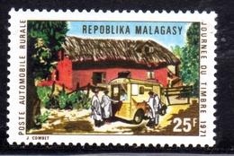 MADAGASCAR MALGACHE MALGASY REPUBLIC 1971 STAMP DAY JOURNEE DU TIMBRE MOBILE RURAL POST OFFICE 25f MNH - Madagascar (1960-...)