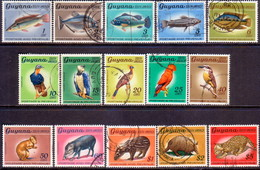 GUYANA 1968 SG 448-62 Compl.set (No Wmk) Used Birds And Animals - Guyana (1966-...)