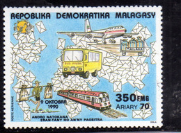 MADAGASCAR MALGACHE MALGASY REPUBLIC 1990 POSTE AERIENN AIR MAIL STAMP DAY JOURNEE DU TIMBRE 350f MNH - Madagascar (1960-...)