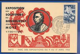 Entier Exposition  Jean Martin  MOYE   Timbre N°669 Et 1003 Oblitération : Metz 10 Avril 1955 - Poststempel (Briefe)