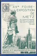 Entier  XIV Foire Exposition De Metz Timbres N°765/738Oblitération : Metz 29 Sept 1949 - Poststempel (Briefe)