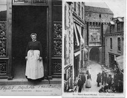 LE MONT SAINT MICHEL 2 CARTES POSTALES MADAME POULARD ET HOTEL POULARD - Le Mont Saint Michel