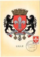 HERALDIQUE = 59 LILLE 1958 = CARTE MAXIMUM + CACHET PREMIER JOUR N° 1186 ARMOIRIES - 1950-59