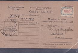 Cad : AVIZE (51 - Ravitaillement Général Avec Vignette N° 15A - Guerre 1939/1945 - A Voir : 2 Scans - Covers & Documents