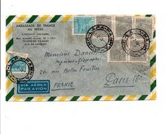 BRESIL AFFRANCHISSEMENTT COMPOSE SUR LETTRE POUR LA FRANCE 1953 - Brésil