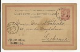 Postal Stationery Germany 1880 Hamburg  Miss A Corner - Deutschland