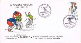 33606. Carta MADRID 1987, Semana Del Sello, Dia De San ISIDRO. Ciclismo, Vuelta Ciclista España - 1931-Hoy: 2ª República - ... Juan Carlos I