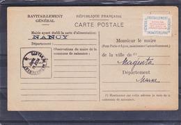Cad : NANCY - Ravitaillement Général Avec Vignette N° 15A - Guerre 1939/1945 - A Voir : 2 Scans - Covers & Documents