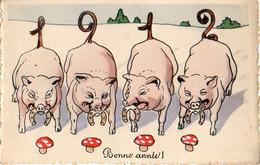 Année Date Millesime 1912 - 4 Cochons Champignon Et Fer à Cheval (vienne BKWI 2983-4 - Nouvel An
