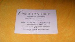 BUVARD ANCIEN MM. BELLER & LHOMOND PARIS 10e..OFFICE GENEALOGIQUE...RECHERCHES D'HERITIERS... - G