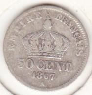 50 Centimes 1867 A Paris, Napoléon III , En Argent - France