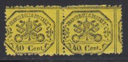 Etats Pontificaux 1868 Yvert 24 ** TB Paire - Kerkelijke Staten