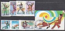 Vietnam 1989 - Patinage Artistique, 7 V.+BF, Non Dent., Obliteres - Vietnam