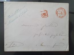 """France - Enveloppe Avec Griffe """" Service De L 'Empereur Ministre D'Etat """"  De Paris - Réf AT 13 - 1849-1876: Période Classique"""