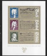 D.D.R. - BACH-HENDEL-SCHUTZ - 1985 - FOGLIETTO NUOVO ** - (YVERT BF 80 - MICHEL BL 81) - Musica