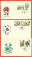 OLIMPIADI - MARCOFILIA - GIOCHI OLIMPICI TOKYO  1964 - 3 BUSTE - FDC