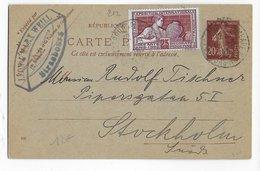 1925 - CARTE ENTIER SEMEUSE Avec COMPLEMENT EXPO ARTS DECO PARIS De STRASBOURG => STOCKHOLM (SUEDE) - DESTINATION - 1921-1960: Modern Period