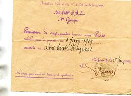 Militaria Permission De 24 Heures Pour Soldat Le 3 Juin 1919 Cachet 305 ème Régiment Artillerie - Documents