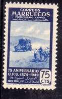 SPANISH MOROCCO MAROC MAROCCO SPAGNOLO MARRUECOS 1950 UPU 1874 1949 MAIL TRANSPORT 75c MNH - Marocco Spagnolo