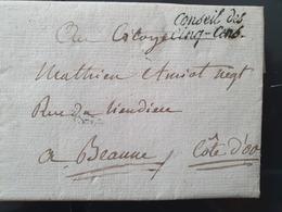 """France - Griffe """" Conseil Des Cinq-Cens """" Sur Lettre Avec Texte Pour Beaune En 1796 ( 19 Thermidor An 4 ) - Réf AT 17 - Poststempel (Briefe)"""