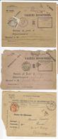 8 Enveloppes (N° Divers) Retour De Valeurs Non Recouvrées, Taxées Avec Chiffres-taxe Duval Ou 1f Paix - Impuestos