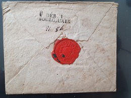 """Déboursé """" Déb. 1 Bourg, L'Ain """" Au Verso D'une Enveloppe,griffe """" Le Commissaire Du Roi Au Sceau De France"""" - Réf AT 19 - Marcofilia (sobres)"""