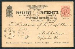 1890 Finland Stationery Postcard Kuhmdis - Stockholm, Hango Tavastehus - Covers & Documents