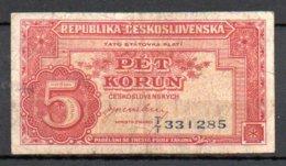 329-Tchécoslovaquie Billet De 5 Korun 1945 TT331 - Czechoslovakia