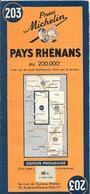 CARTE-ROUTIERE-ALLEMAGNE-MICHELIN-N°203-1945-1é Edition Provisoire-PAYS RHENANS-TBE - Cartes Routières