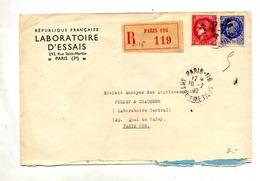 Lettre Recommandee  Paris 116 Sur Ceres Petain - Marcophilie (Lettres)