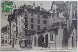 Neuchâtel. Ecluse Et Funiculaire Ecluse-Plan - CPA 1909 Animée Tramway - NE Neuchatel
