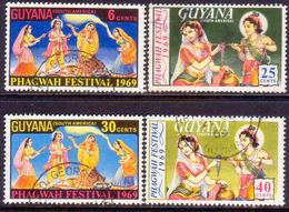 GUYANA 1969 SG 477-80 Compl.set Used Hindu Festival Of Phagwah - Guyana (1966-...)