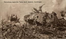 RARE VERNICHTUNG ENGLISCHER TANKS DURCH DEUTSCHE STURMTRUPPS  Feldpostkarte  DEUTSCHLAND GERMANY ALLEMAGNE - Guerra 1914-18